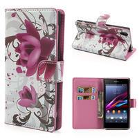 Peněženkové pouzdro na Sony Xperia Z1 C6903 L39- fialový květ