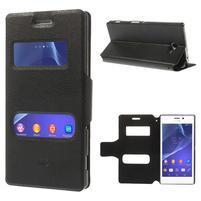 Peněženkové flipové PU kožené pouzdro na Sony Xperia M2 D2302 - černé