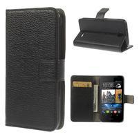 Peněženkové PU kožené pouzdro na HTC Desire 310- černé