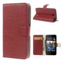 Peněženkové PU kožené pouzdro na HTC Desire 310- červené