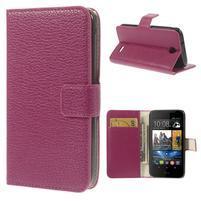 Peněženkové PU kožené pouzdro na HTC Desire 310- růžové