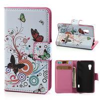 Peněženkové pouzdro pro LG Optimus L5 Dual E455-barevní motýli
