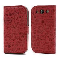 Peněženkové pouzdro na Samsung Galaxy S3 i9300- červené