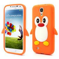 Silikonový Tučňák pouzdro pro Samsung Galaxy S4 i9500- oranžový