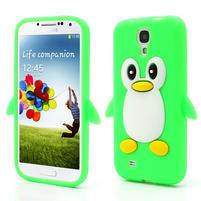 Silikonový Tučňák pouzdro pro Samsung Galaxy S4 i9500- zelený