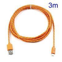 T3 tkaný odolný micro USB kabel s délkou 3 m - oranžový