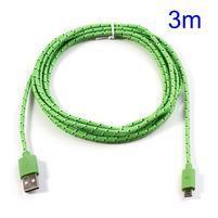 T3 tkaný odolný micro USB kabel s délkou 3 m - zelený
