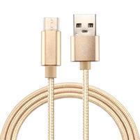 Texture tkaný micro USB Typ-C kabel pro synchronizaci a nabíjení / 3m - zlatý