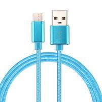 Texture tkaný micro USB Typ-C kabel na nabíjení a synchronizaci / 0.5m - modrý