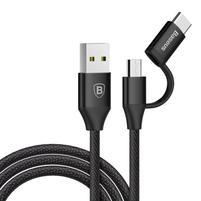 BS9 nabíjecí a propojovací kabel na USB Type-C s redukcí na micro USB - černý