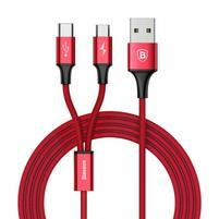 BSX nabíjecí a propojovací kabel na USB Type-C a micro USB - červený
