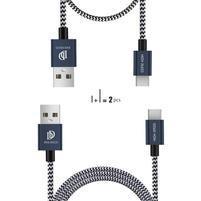DataSync tkaný 2x nabíjecí/propojovací kabel USB Typ-C 1 m a 0,2 m - tmavěmodrý