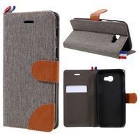 Denim textilní/koženkové pouzdro na Samsung Galaxy A5 (2017) SM-A520 - šedé
