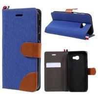 Denim textilní/koženkové pouzdro na Samsung Galaxy A5 (2017) SM-A520 - modré