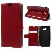 Glossy PU kožené pouzdro na mobil Samsung Galaxy A5 (2017) - červené