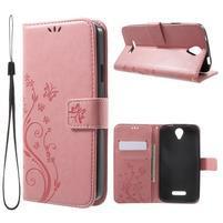 Butterfly PU kožené pouzdro na mobil Doogee X6 - růžové