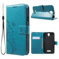 Butterfly PU kožené pouzdro na mobil Doogee X6 - modré