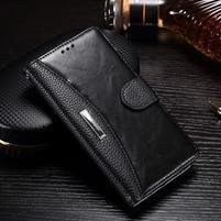 Luxusní PU kožené peněženkové pouzdro na Honor 6x - černé