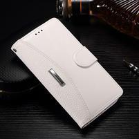 Luxusní PU kožené peněženkové pouzdro na Honor 6x - bílé