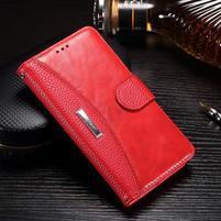 Luxusní PU kožené peněženkové pouzdro na Honor 6x - červené