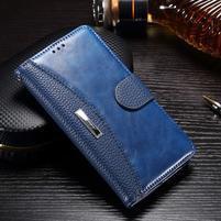 Luxusní PU kožené peněženkové pouzdro na Honor 6x - modré