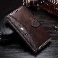 Luxusní PU kožené peněženkové pouzdro na Honor 6x - tmavěhnědé