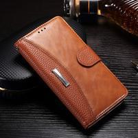 Luxusní PU kožené peněženkové pouzdro na Honor 6x - hnědé