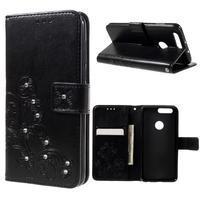 Floay PU kožené pouzdro s kamínky na mobil Honor 8 - černé