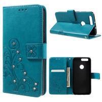 Floay PU kožené pouzdro s kamínky na mobil Honor 8 - modré