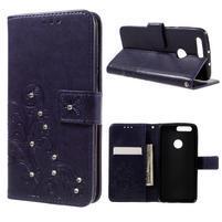 Floay PU kožené pouzdro s kamínky na mobil Honor 8 - fialové
