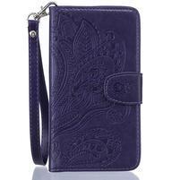 Paisley peněženkové pouzdro pro Huawei P8 Lite - fialové