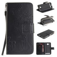 Dandelion PU kožené pouzdro na mobil Huawei Y3 II - černé