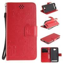 Dandelion PU kožené pouzdro na mobil Huawei Y3 II - červené