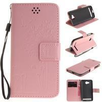 Dandelion PU kožené pouzdro na mobil Huawei Y3 II - růžové