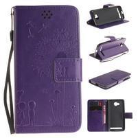 Dandelion PU kožené pouzdro na mobil Huawei Y3 II - fialové