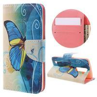 Emotive PU kožené pouzdro na LG K8 - modrý motýl