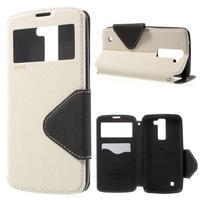 Diary PU kožené pouzdro s okýnkem na LG K8 - bílé