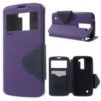 Diary PU kožené pouzdro s okýnkem na LG K8 - fialové