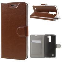 Horse PU kožené pouzdro na mobil LG K8 - hnědé