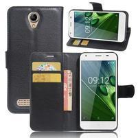 Wallet PU kožené klopové pouzdro na Acer Liquid Z6 - černé