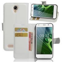 Wallet PU kožené klopové pouzdro na Acer Liquid Z6 - bílé