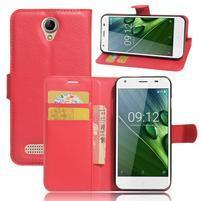 Wallet PU kožené klopové pouzdro na Acer Liquid Z6 - červené