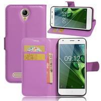 Wallet PU kožené klopové pouzdro na Acer Liquid Z6 - fialové