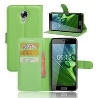 Wallet PU kožené zapínací pouzdro na Acer Liquid Z6 Plus -  zelené