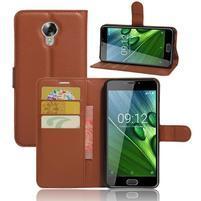 Wallet PU kožené zapínací pouzdro na Acer Liquid Z6 Plus -  hnědé