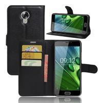 Wallet PU kožené zapínací pouzdro na Acer Liquid Z6 Plus -  černé