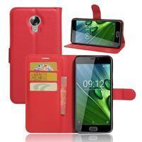 Wallet PU kožené zapínací pouzdro na Acer Liquid Z6 Plus -  červené