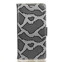 Snake peněženkové pouzdro PU kožené na Acer Liquid Zest 525 - stříbrný
