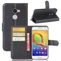 Graines PU kožné puzdro pre mobil Alcatel A3 - čierné