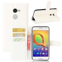 Graines PU kožné pouzdro na mobil Alcatel A3 - bílé